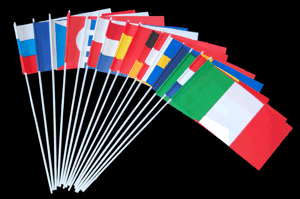 Papierfahnen, Dekofahnen, Papierfähnchen, Nationen, Länder, Staaten