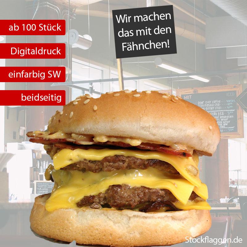 Hamburger Picker Stablänge 15 cm schwarzer Druck  — ab 100 Stück —