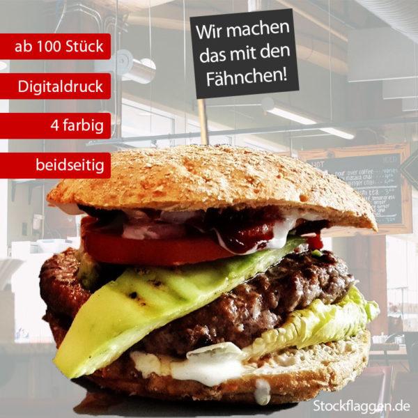 Burgerfähnchen bedrucken, farbiger Druck, Fähnchengröße: 40 x 50 mm, 15 cm Picker, ab 100 Stück