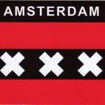 Aufkleber Amsterdam, Städteaufkleber, Flagge, Stadt Autoaufkleber