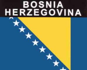 Aufkleber Bosnien-Herzegowina, Länderaufkleber, Nationalflagge, Autoaufkleber