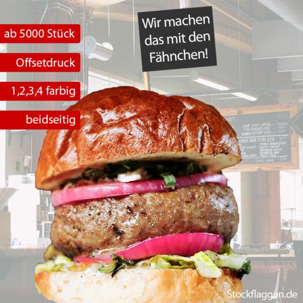 Burgerfähnchen bedrucken, 1, 2, 3 oder farbiger Druck, Fähnchengröße: 40 x 50 mm, 15 cm Picker, ab 5000 Stück