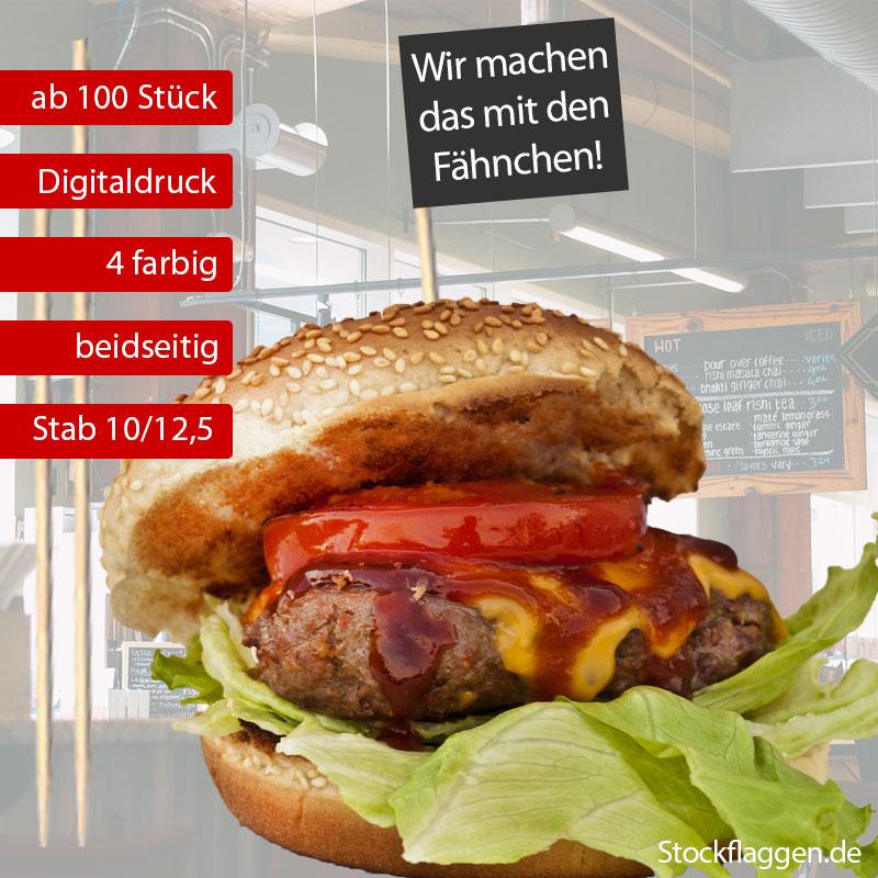 Burgerfähnchen Stab 10 oder 12,5 cm farbiger Druck — ab 100 Stück —