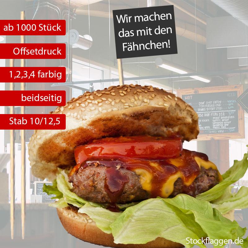 Burger Picker 3×5 cm Stablänge 10/12,5 cm – Offsetdruck farbig — ab 1000 Stück —
