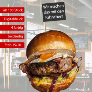 Burgerfähnchen bedrucken, farbiger Druck, Fähnchengröße: 30 x 50 mm, 15 oder 20 cm Picker, ab 100 Stück