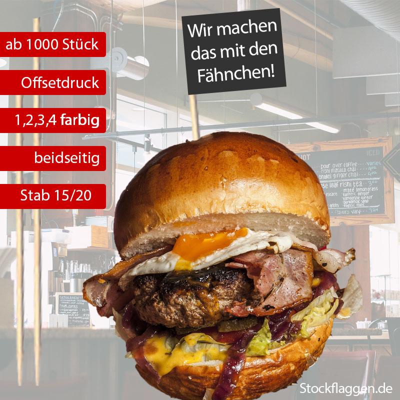 Burger Fähnchen 3 x 5 cm Stablänge 15/20 cm – Offsetdruck farbig — ab 1000 Stück —