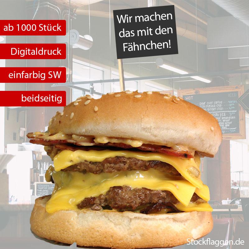 Hamburger-Picker Stablänge 15 cm schwarzer Druck — ab 1000 Stück —